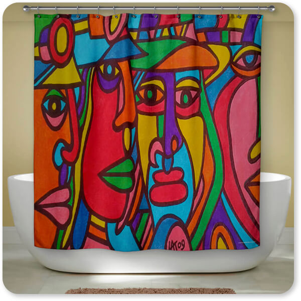 Retro Abstract and Faces Collection Chilean Faces - Bathroom Shower Curtain - EXPRESS DELIVERY!