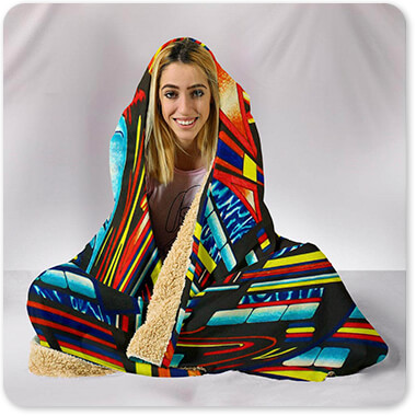 Retro Abstract and Faces Collection Face The Faith - Hooded Blanket