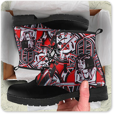 Retro Abstract and Faces Collection Ace Of Spades - Gothic Clock Tower - Men's Women's Faux Leather Boots - EXPRESS DELIVERY!