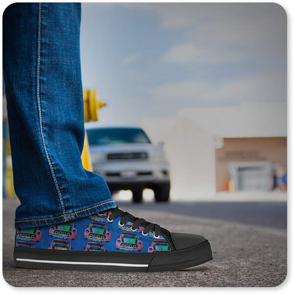 Abstract Graffiti Artist Collection Retro Abstract and Faces Collection Mini Car - Men's Women's High Low Top Black White Trim Canvas Shoes - EXPRESS DELIVERY!