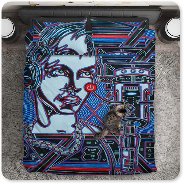 Retro Abstract and Faces Collection Head Phones DJ Music - Duvet Bedding Set