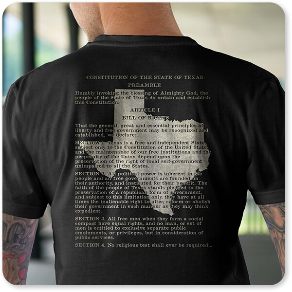 Shirts of the States Collection Texas State Constitution Series Double-Sided Black T-Shirt Back Young Adult Man with tattoos