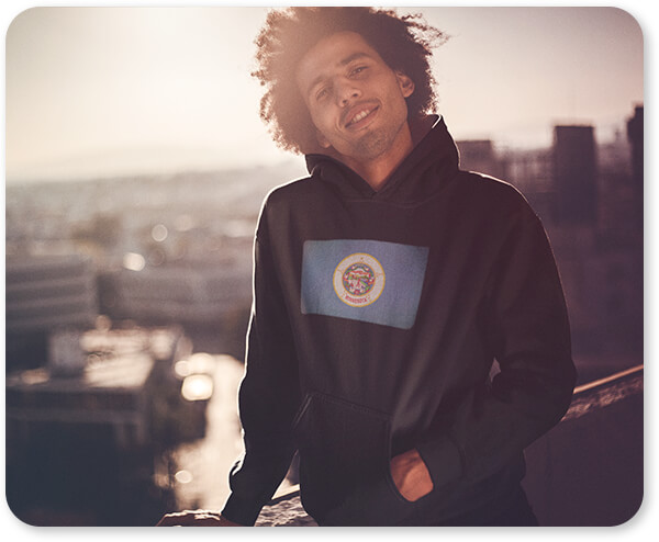Shirts of the States Collection Dude with an Afro Wearing a Pullover Hoodie During the Sunset Minnesota Hoodie wide