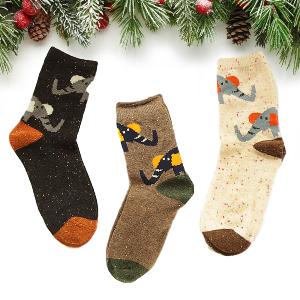 Forest Elephant Winter Wool Socks