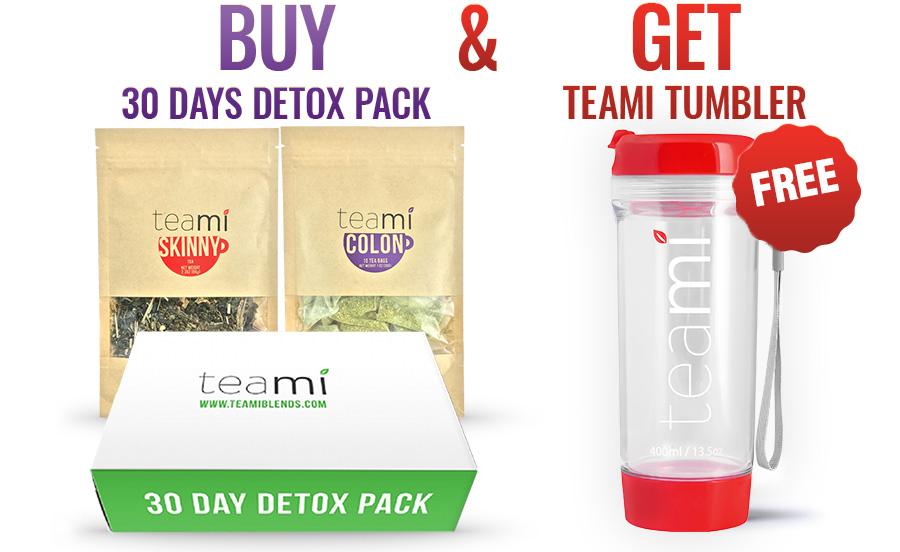 teami detox 30 days pack free RED tumbler