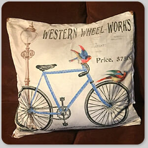 AllTypeSupply.com HAPPY CUSTOMER TESTIMONIAL Social Proof - Keating & Western Wheel Works Bicycle - Pillow Cover - 3 Designs