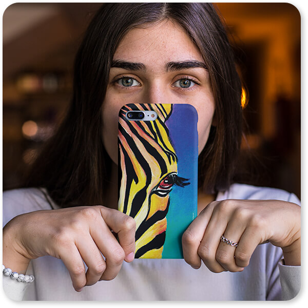 Slim Cell Phone Case Catalog Girl Holding an iPhone Case in Front of Her Face Zebra