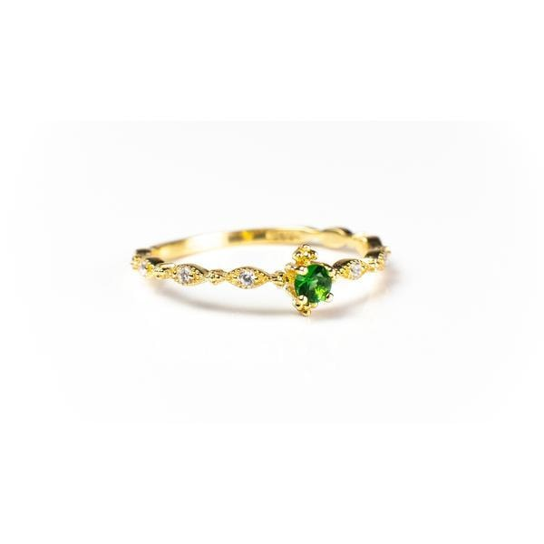 Garen Green/Blue Stone 18K Gold Vermeil Ring