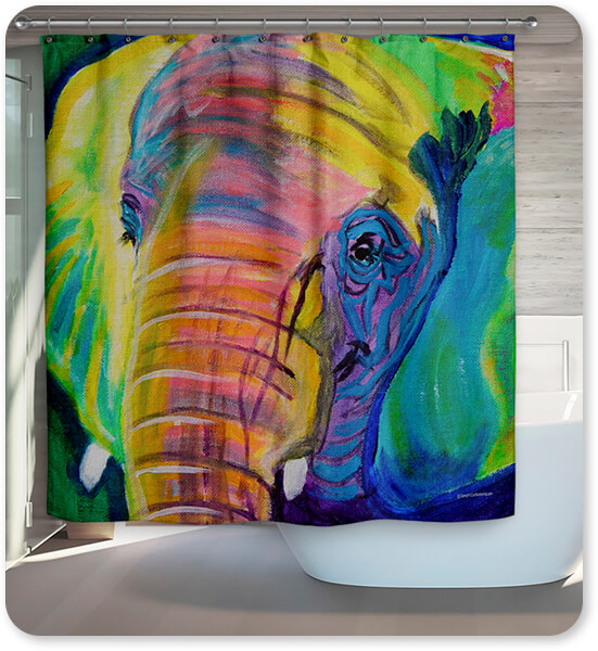Dawgart Pachyderm Elephant Bathroom Shower Curtain - EXPRESS DELIVERY!