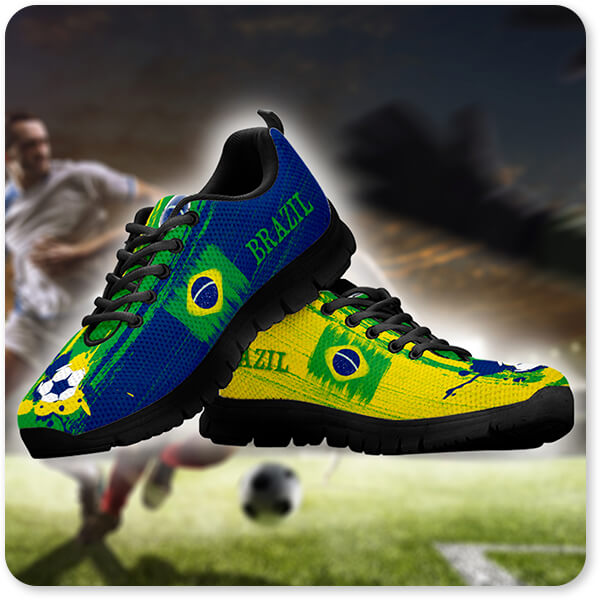 Brazil National Flag Running Sneakers World Cup 2018 Men's Women's Children's Youth Black White Trim World Cup 2018 - EXPRESS DELIVERY!