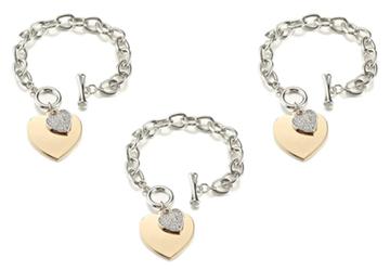 Gold Heart Charm Chain Bracelet