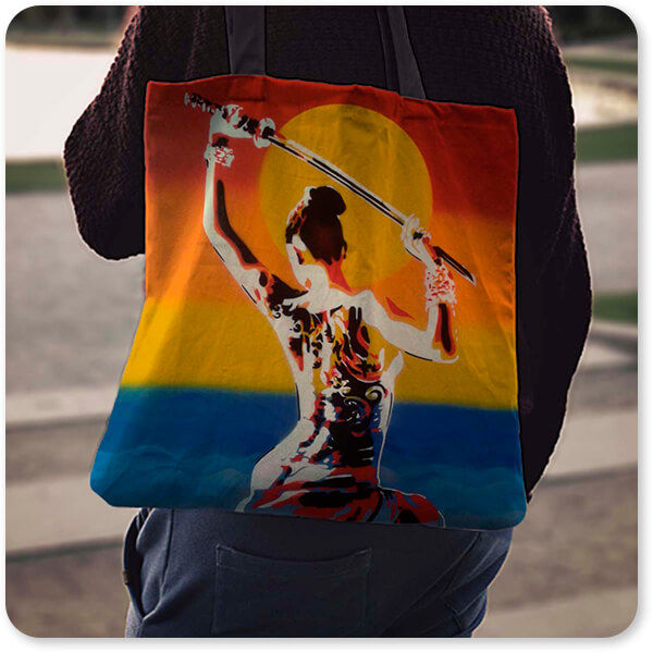 Abstract Graffiti Artist Collection Samurai 2 - Canvas Tote Bag over the shoulder guy girl walking