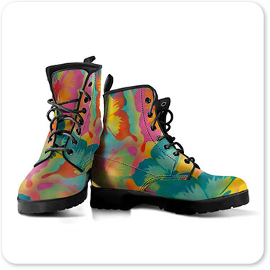 Abstract Graffiti Artist Collection Butterflies - Men's Women's Leather Boots - EXPRESS DELIVERY!