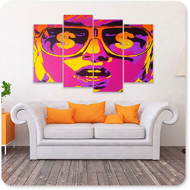 Abstract Graffiti Artist Collection Pop Star Dollars - Multi-piece Canvas Art - 3 Designs - EXPRESS DELIVERY!