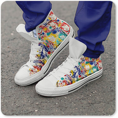Abstract Graffiti Artist Collection L.A. Woman - Men's Women's Black White High Top Canvas Shoes Woman Man standing on boardwalk sidewalk with long navy blue pants shoes untied