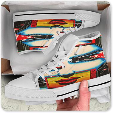 Abstract Graffiti Artist Collection Im Watching You - Men's Women's High Low Top Black White Trim Canvas Shoes Open Brown Box - EXPRESS DELIVERY!