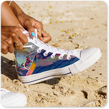 Abstract Graffiti Artist Surfing - Mens Womens High Low Top Black White Trim Canvas Shoes - EXPRESS DELIVERY! Black Woman High Top Black White Trim Canvas Shoes on Beach with Sand
