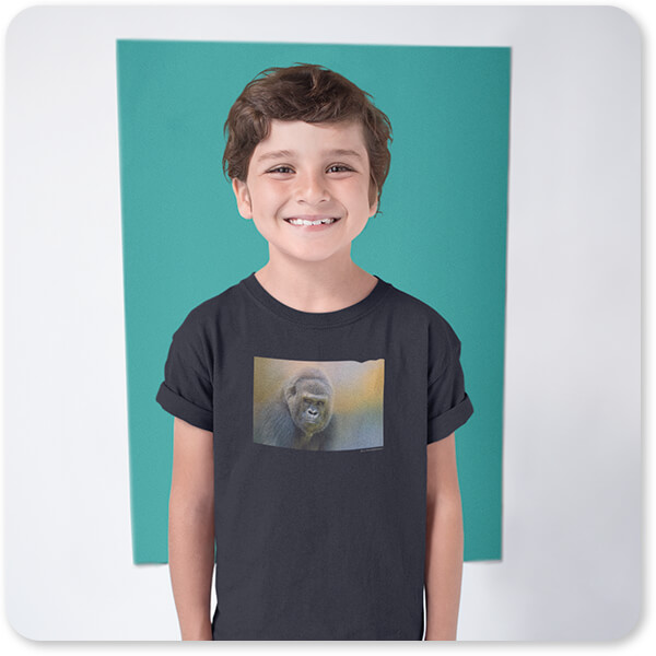 Jai Johnson Artist Collection Portrait Of A Gorilla Happy White Kid Wearing a T-Shirt Against a Color Rectangle