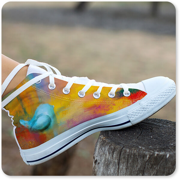 Abstract Bluebird of Happiness - Women's High Top White Trim Canvas Shoes on Woman's Man's Foot on Wooden Tree Stump Pole