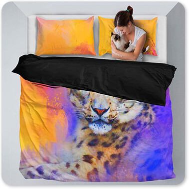 Jai Johnson Artist Collection Colorful Expressions Snow Leopard - King Queen Twin Duvet Bedding Set