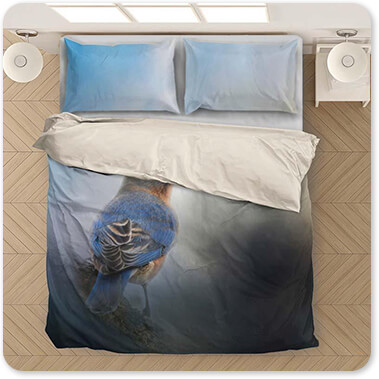 Jai Johnson Artist Collection Blue Winter Visitor - King Queen Twin Duvet Bedding Set