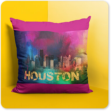 Sending Love to the Cities Collection Houston Pillow Standing Near a Corner on a Yellow Room