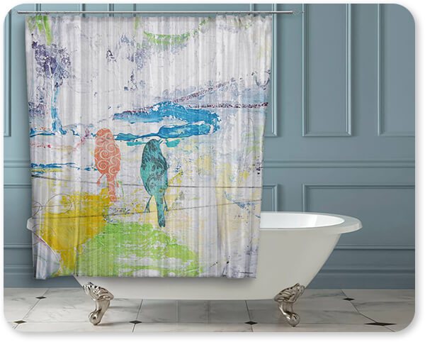 Jean Plout Artist Collection Bird Trio On Wires-A - Bathroom Shower Curtain - EXPRESS DELIVERY!