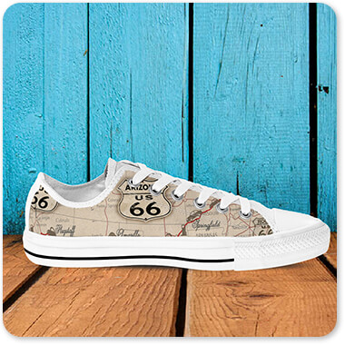 Vintage America Collection Route 66 Map - Men's Women's High Low Top Black White Trim Canvas Shoes - EXPRESS DELIVERY!