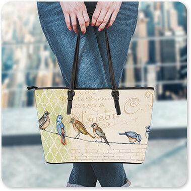 Jean Plout Artist Collection Woman Standing on Building rooftop with Birds Gathered On Wire - Large Leather Tote Bags - 4 Designs copy