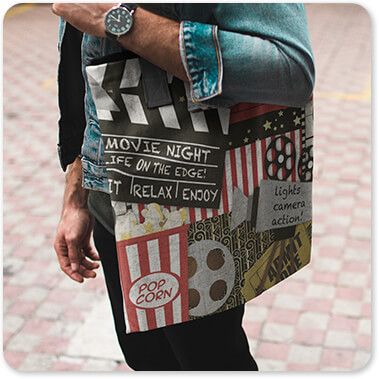 Jean Plout Artist Collection Vintage America Collection Home Movie v1 - Canvas Tote Bag Carried by a Man While Standing Near Yellow Lines on the Floor waiting to go to the movies copy