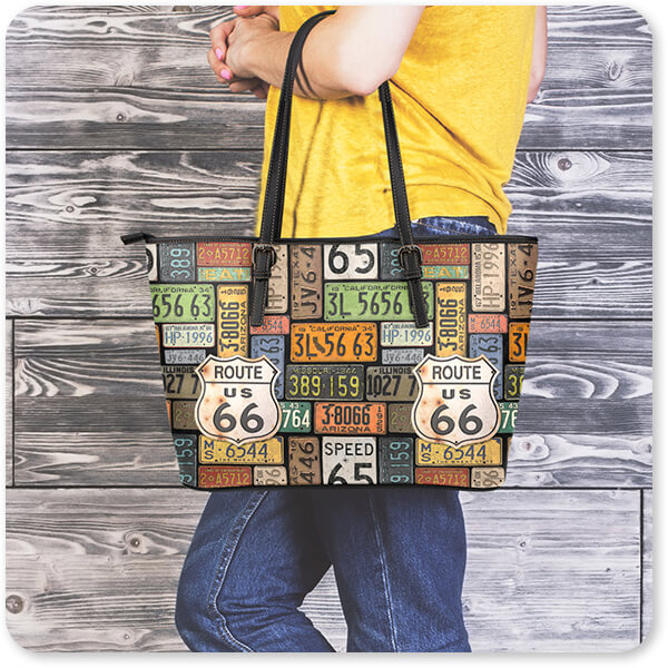 Jean Plout Artist Collection Vintage America Collection Route 66 License Plates Large Small Leather Bag Woman Wood - EXPRESS DELIVERY!