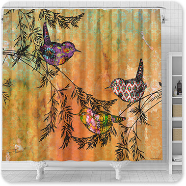 Jean Plout Artist Collection Birds On Branches-A1 - Bathroom Shower Curtain