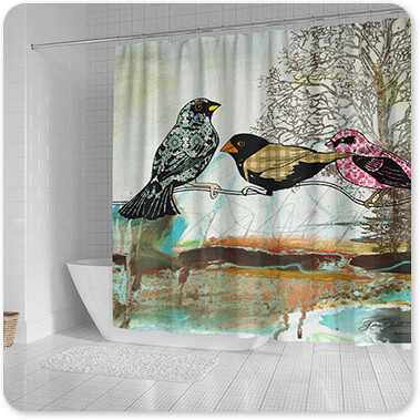 Jean Plout Artist Collection Birds Of Fire Lake-B - Bathroom Shower Curtain