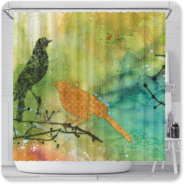 Jean Plout Artist Collection Birds On Watercolor-A1 - Bathroom Shower Curtain