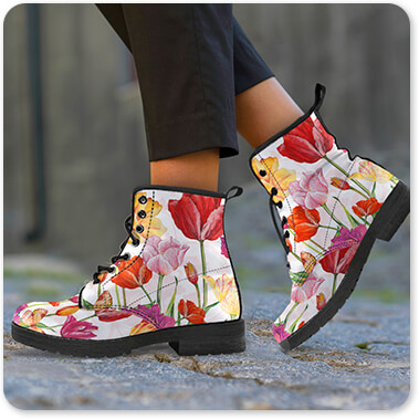 Jean Plout Artist Collection Floral Collection Flowers Springtime Botanicals-A - Women's Men's Leather Boots on Brown Box - EXPRESS DELIVERY! copy