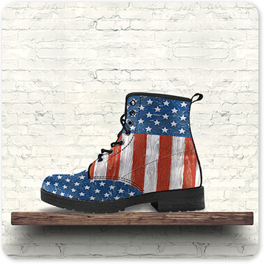 Jean Plout Artist Collection Old Glory On Wood Men's Women's Leather Boot on brown shelf with white brick background - EXPRESS DELIVERY! copy