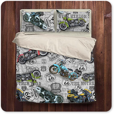 Jean Plout Artist Collection Vintage Motorcycles on Route 66 Classic Rides v3 - King Queen Twin Duvet Bedding Set
