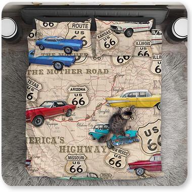 Jean Plout Artist Collection Duvet Bedding Set Route 66 Muscle Car Map