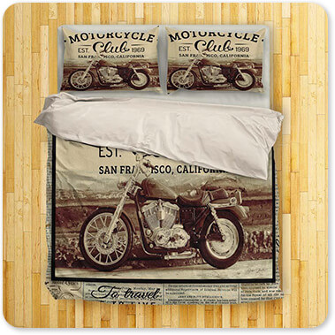 Jean Plout Artist Collection Vintage Motorcycle Mancave San Francisco Club-B - King Queen Twin Duvet Bedding Set