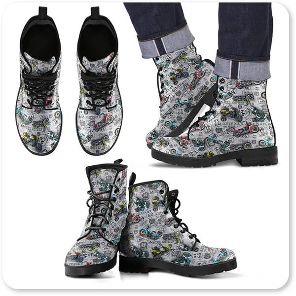Jean Plout Artist Collection Vintage Motorcycles on Route 66 Classic Rides White v3 - Men's Women's Leather Boots - EXPRESS DELIVERY!