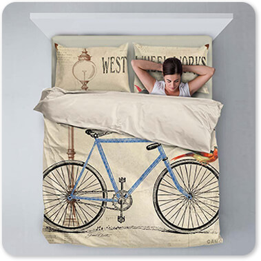 Jean Plout Artist Collection Western Wheel Works Bicycle - King Queen Twin Duvet Bedding Set