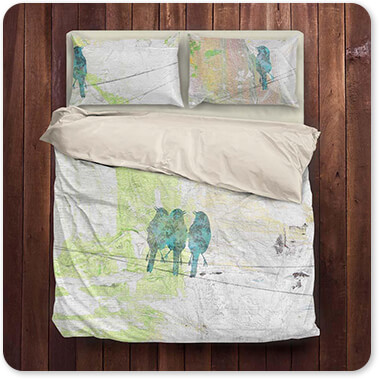 Jean Plout Artist Collection Blue Birds On Wires-B - King Queen Twin Duvet Bedding Set
