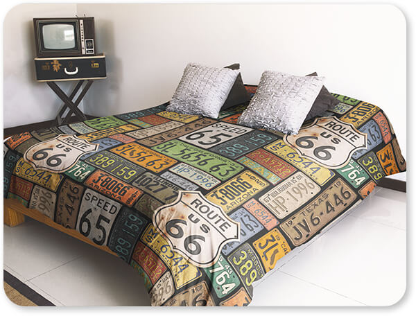 Jean Plout Artist Collection Duvet Bedding Set Cover Inside a Hipster Room Route 66 License Plates