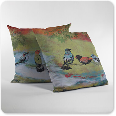 Jean Plout Artist Collection Birds The Valley Pair of Pillows Standing on a White Surface