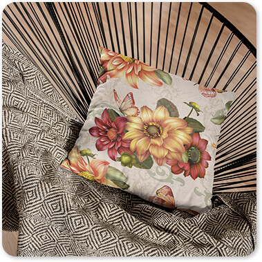 Jean Plout Artist Collection Floral Collection Flowers Autumn Bouquet-H Pillow Lying on a Black Acapulco Chair in a Living Room copy