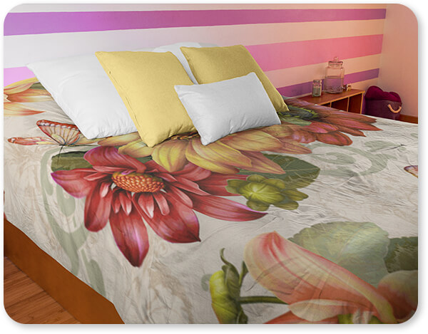 Jean Plout Artist Collection Floral Collection Flowers Autumn Bouquet-H Bedding Set Angled Shot of a Duvet Cover in a Women Girl Room