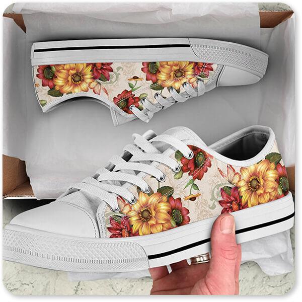 Jean Plout Artist Collection Autumn Bouquet-H - Men's Women's High Low Top Black White Trim Canvas Shoes Open Brown Box - EXPRESS DELIVERY!