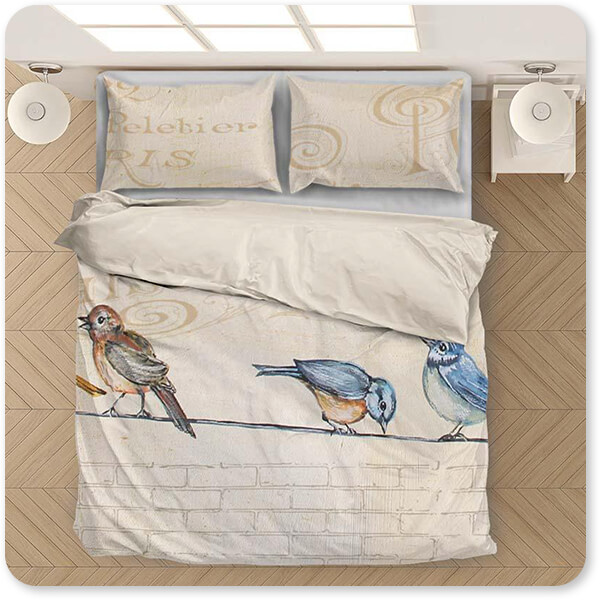 Jean Plout Artist Collection Birds Gathered On Wire - King Queen Twin Duvet Bedding Set