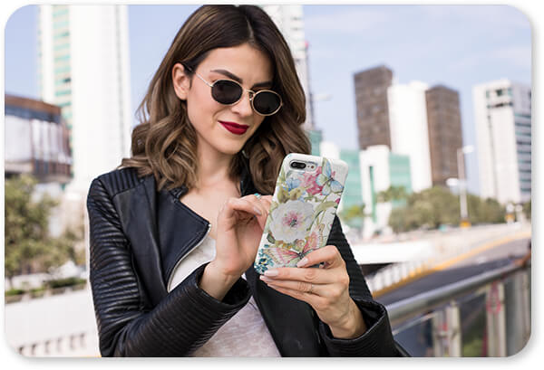 Jean Plout Artist Collection Floral Collection Flowers Garden Bliss-D - Slim Cell Phone Case Featuring a Trendy Woman With Sunglasses