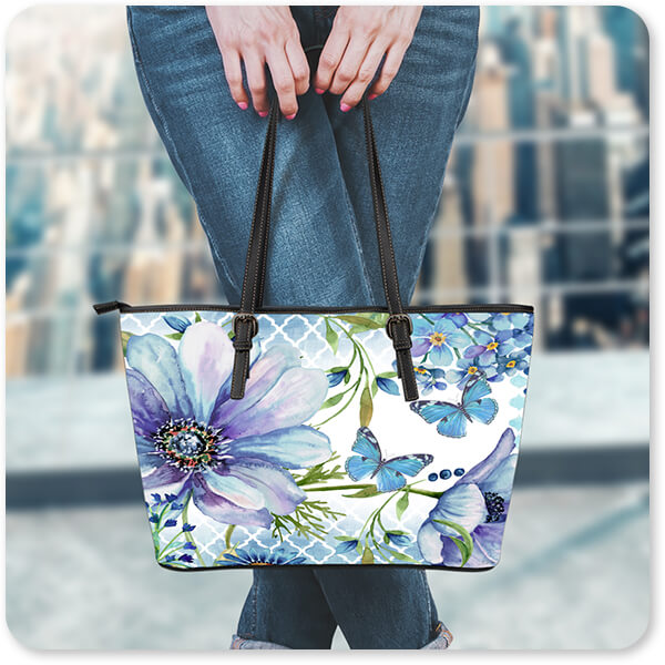 Jean Plout Artist Collection AllTypeSupply.com Sheila's Lovely Garden - Large Small Leather Tote Bag - EXPRESS DELIVERY!
